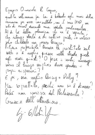 Lettera onorevole
