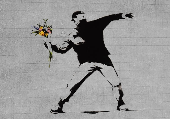 Bansky flower brick thrower.