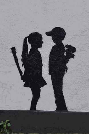 Boy meets girl by banksy
