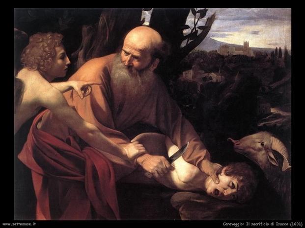 Caravaggio il sacrificio di isacco  infanticidio con caprone