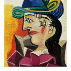 Picasso pablo donna con cappello blu