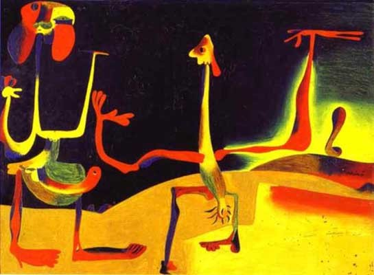 Joan miro man and woman in front of a pile of excrement