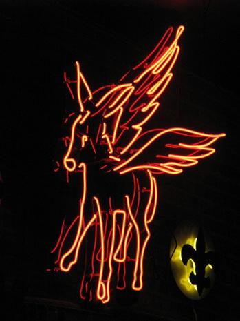 Flying neon donkey