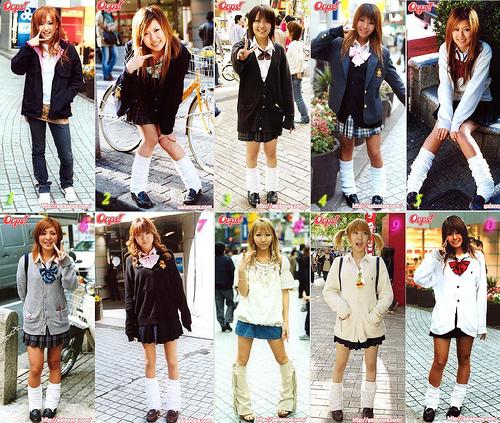 Japanese school girls in their uniforms