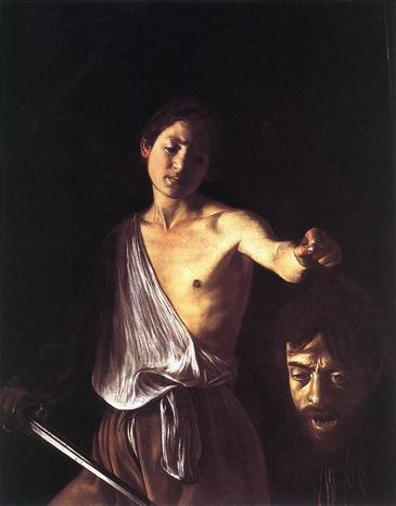 Michelangelo merisi detto caravaggio davide con la testa di golia 1610 galleria borghese roma