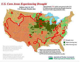 US corn areas experiencing drought
