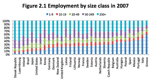 Employment by size class in 2007
