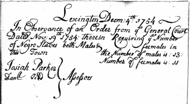 Lexington Census 1754