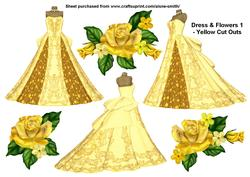 Dress & Flowers 1 - Yellow Cut Outs