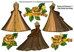 Dress & Flowers 1 - Old Gold Cut Outs