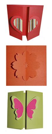 3 Gate Fold Butterfly, Heart, and Flower Cards Templets- SVG