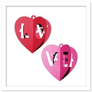 3D Hanging Hearts Decor Ornaments SVG, PDF, DXF Files