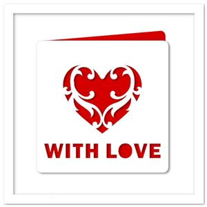 Flourish Love Heart Card (anniversary) SVG, DXF, PDF Files