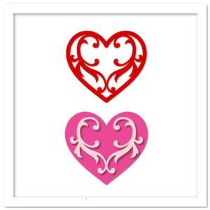 Two Flourish Hearts SVG, DXF, PDF Cutting Files