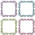 Metallic Ornate Floral Frames Set 7 - Png
