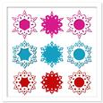Decorative Snowflake Frames with Mats Set in SVG, DXF,PDF