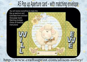 Will Ewe 3D Pop Out Push & Pull Card