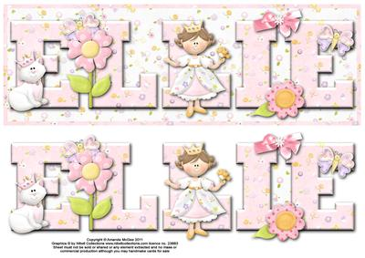 Pretty Princess Ellie Large Dl Name Card with Decoupage