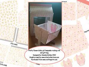 Brand New Pretty Flowers Baby Girl Swinging Crib & Gift Bag
