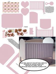 Baby Girl Keepsake Mini Cot Kit with Gift Box