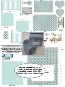 Baby Boy Keepsake Mini Cot Kit with Gift Box