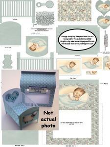 Baby Boy Keepsake Mini Cot Kit with Gift Box - Vintage