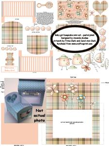 New Baby Girl Keepsake Mini Cot Kit W Gift Box- Pastel Plaid