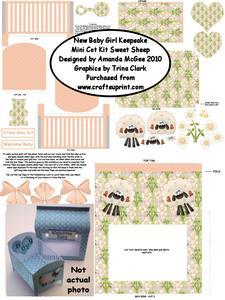 New Baby Girl Keepsake Mini Cot Kit W Gift Box - Sweet Sheep