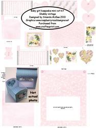 Baby Girl Keepsake Mini Cot Kit W Gift Box - Shabby Vintage
