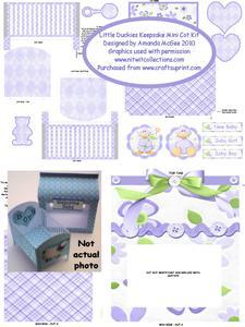 New Baby Keepsake Mini Cot Kit W Gift Box - Little Duckies