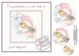 Vintage Baby Girl 8x8 Card Front with Pyramid Layers