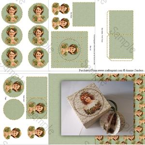 Christmas Girl & Holly 3D Bauble & Gift Box Kit