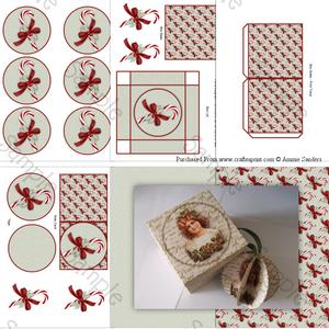 Christmas Candy Cane with Holly 3D Bauble & Gift Box Kit