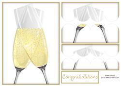 Champagne Glasses Scallop Edge Stacker Card