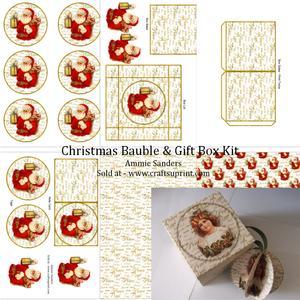 Vintage Santa 3D Bauble & Gift Box Kit