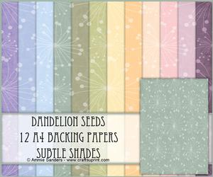 Dandelion Seeds 12 A4 Backing Papers - Subtle Shades