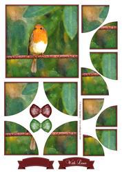 Sweet Little Robin Watercolour Corner Stacker