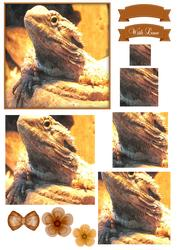 Bearded Dragon Watercolour Pyramid Topper