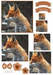 Fox Watercolour Pyramid Topper