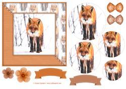 Winter Fox Watercolour 6x6 Card Front & Decoupage