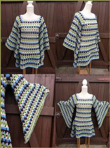 Crochet Granny Square Pixie Dress / Tunic , Boho, Gypsy,
