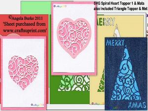 Spiral Heart & Xmas Tree Toppers SVG