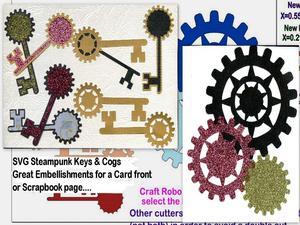 Steampunk 3 Keys & Cogs SVG
