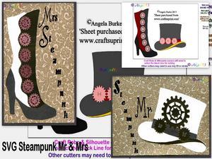 Steampunk 5 Mr & Mrs SVG