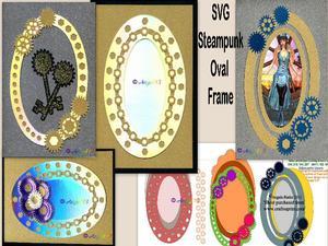 Steampunk Oval Frames SVG
