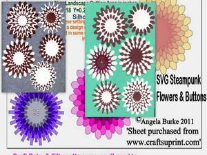 Steampunk Flowers & Buttons SVG