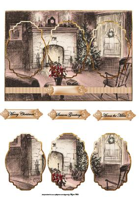 Christmas Past Card Front with Panels