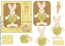 Carrot Bunny Rabbit Card Front with a Topper