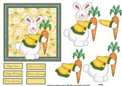 Rabbit with a Carrot Card Front with Decoupage and Sentiment