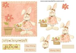 Flower Rabbit Card Front with Decoupage